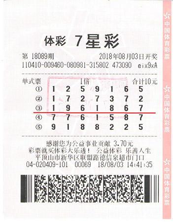七星彩第18089期1注一等奖、1注六等奖、500万元-平顶山市新华区(票