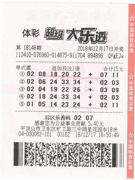 超级大乐透第18148期1注一等奖及追加、1注三等奖及追加-1346万元-平顶山市卫东区(票)