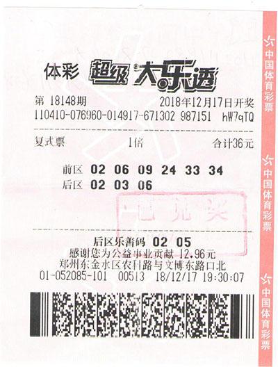 超级大乐透第18148期1注一等奖、2注二等奖、5注三等奖、10注四等奖-郑州市金水区(票
